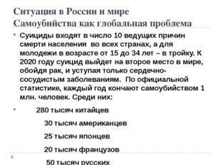 Ситуация в России и мире Самоубийства как глобальная проблема Суициды входят
