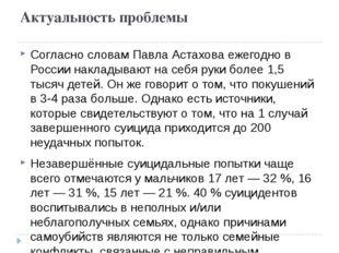 Актуальность проблемы Согласно словам Павла Астахова ежегодно в России наклад