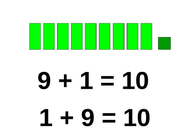 9 + 1 = 10 1 + 9 = 10