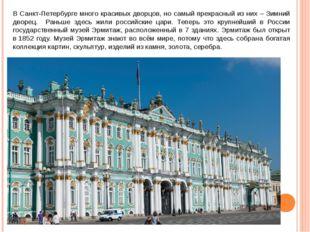 В Санкт-Петербурге много красивых дворцов, но самый прекрасный из них – Зимни