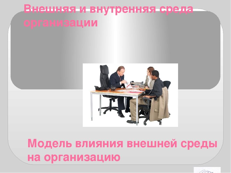 Внешняя и внутренняя среда организации Модель влияния внешней среды на органи...