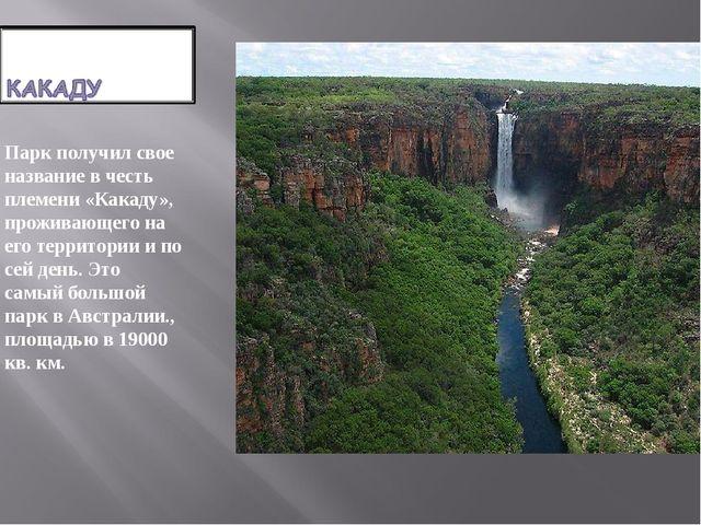 Парк получил свое название в честь племени «Какаду», проживающего на его терр...