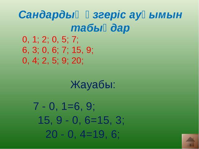 Сандардың өзгеріс ауқымын табыңдар 0, 1; 2; 0, 5; 7; 6, 3; 0, 6; 7; 15, 9; 0...