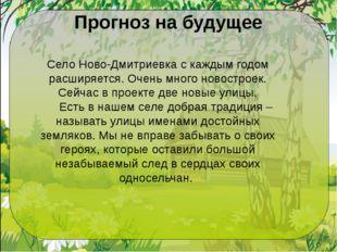 Прогноз на будущее Село Ново-Дмитриевка с каждым годом расширяется. Очень мно