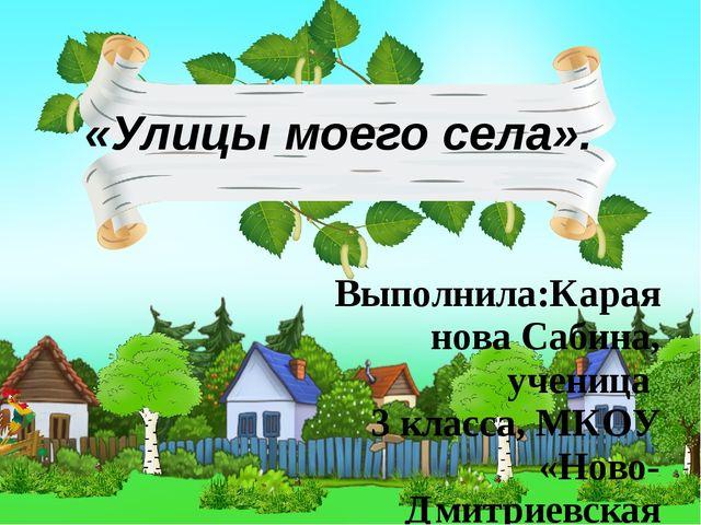 «Улицы моего села». Выполнила:Караянова Сабина, ученица 3 класса, МКОУ «Ново-...