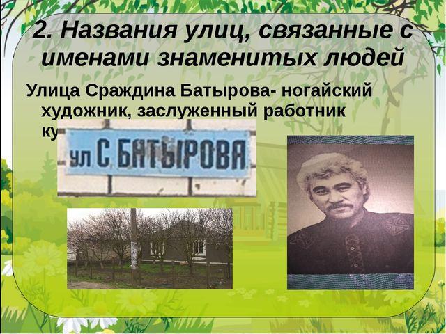 2. Названия улиц, связанные с именами знаменитых людей Улица Сраждина Батыров...