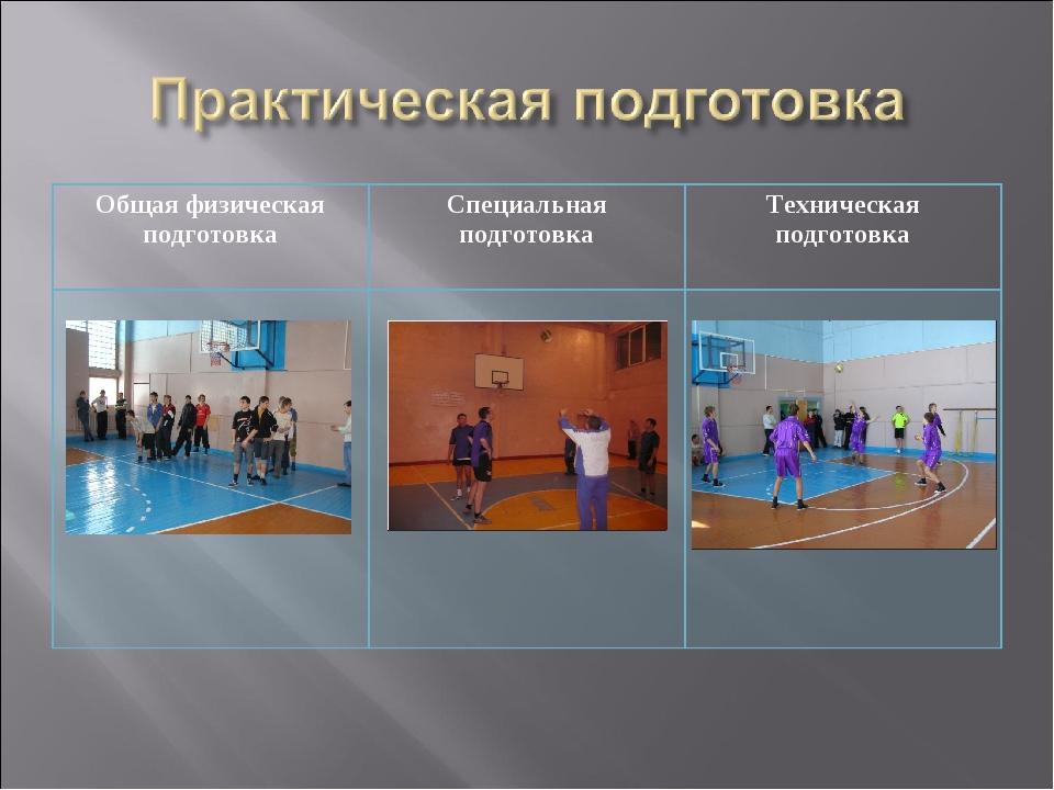 Общая физическая подготовкаСпециальная подготовкаТехническая подготовка