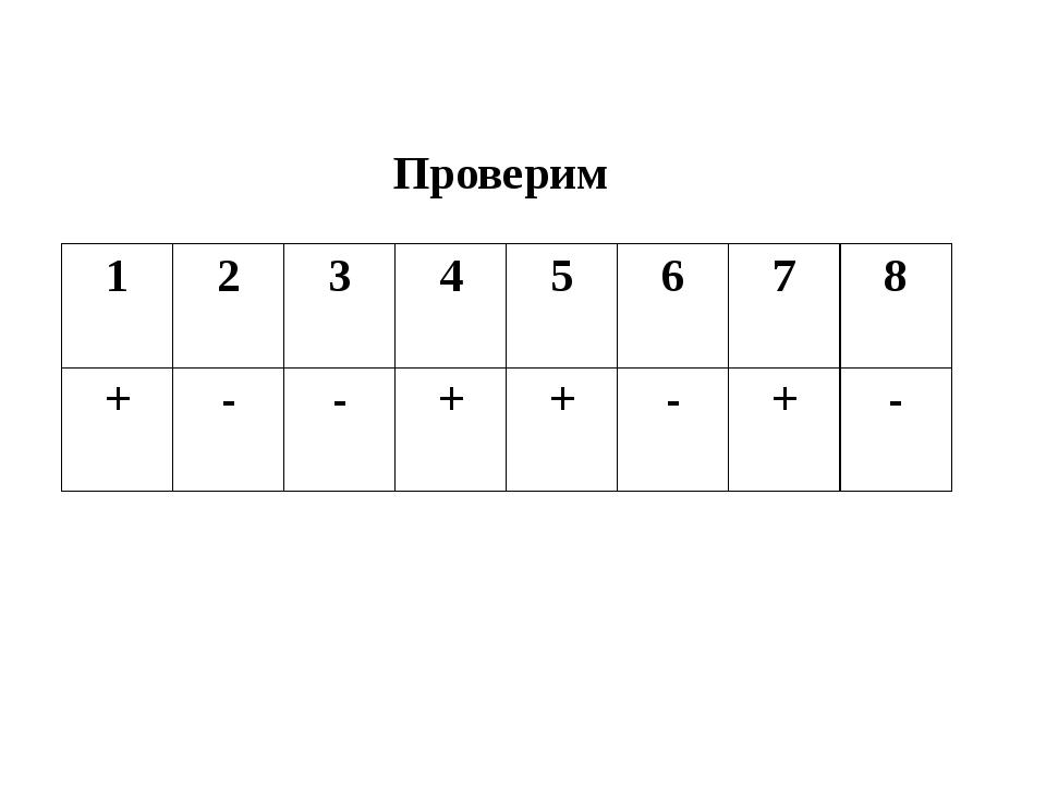 Проверим 1 2 3 4 5 6 7 8 + - - + + - + -