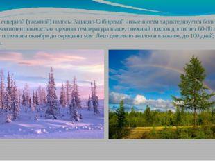 Климат северной (таежной) полосы Западно-Сибирской низменности характеризуетс