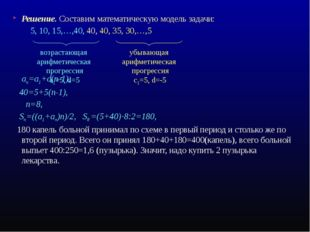 Решение. Составим математическую модель задачи: 5, 10, 15,…,40, 40, 40, 35, 3