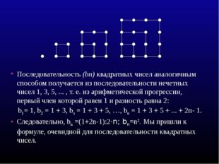 Последовательность (bп) квадратных чисел аналогичным способом получается из п