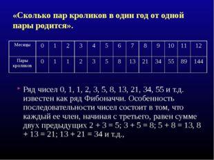 «Сколько пар кроликов в один год от одной пары родится». Ряд чисел 0, 1, 1, 2