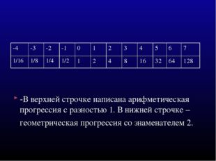 -В верхней строчке написана арифметическая прогрессия с разностью 1. В нижней