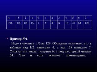 Пример №1. Надо умножить 1/2на 128. Обращаем внимание, что в таблице над 1/2