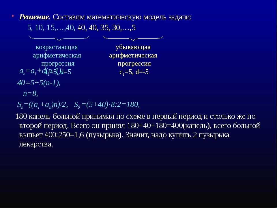 Решение. Составим математическую модель задачи: 5, 10, 15,…,40, 40, 40, 35, 3...