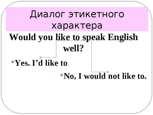 Диалог этикетного характера Would you like to speak English well? Yes. I'd li...