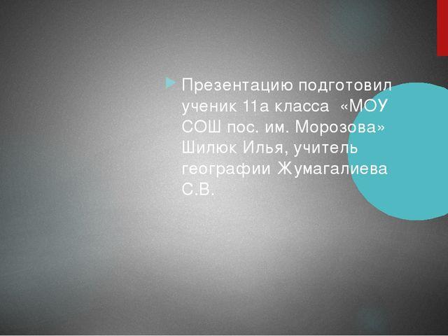 Презентацию подготовил ученик 11а класса «МОУ СОШ пос. им. Морозова» Шилюк И...