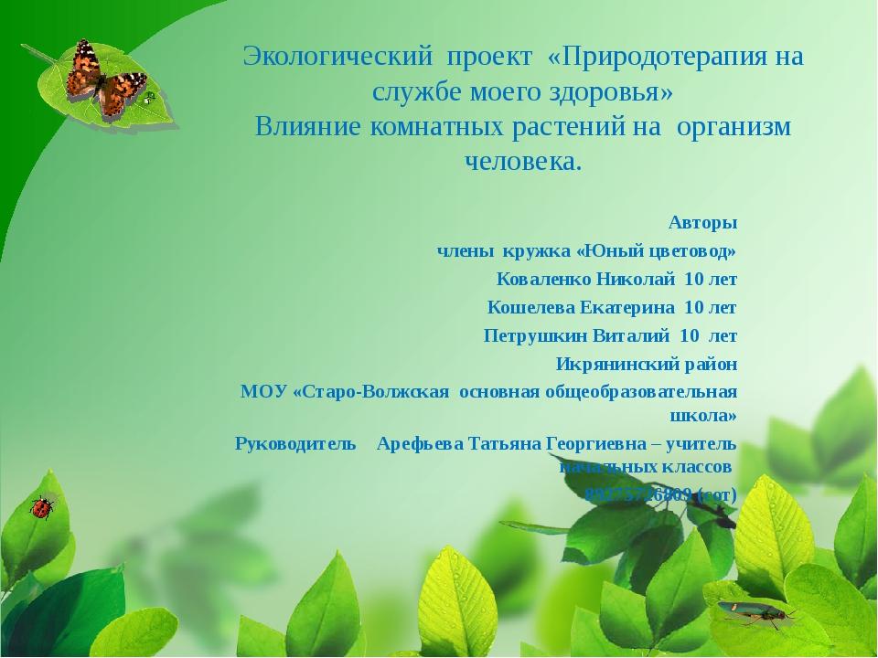 Экологический проект «Природотерапия на службе моего здоровья» Влияние комнат...