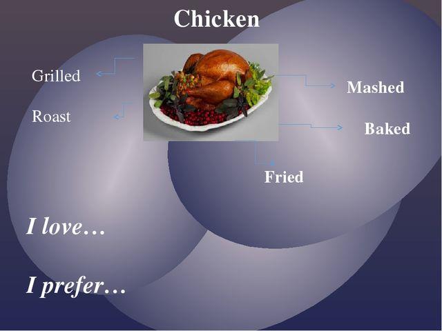 Chicken I love… I prefer… Grilled Roast Mashed Baked Fried