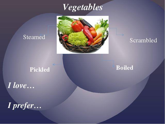Vegetables Steamed Scrambled Pickled Boiled I love… I prefer…