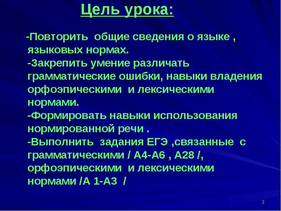 * Цель урока: -Повторить общие сведения о языке , языковых нормах. -Закрепить...