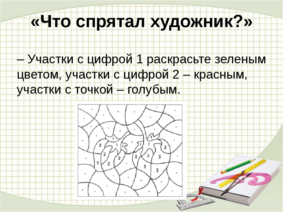 «Что спрятал художник?» –Участки с цифрой 1 раскрасьте зеленым цветом, участ...