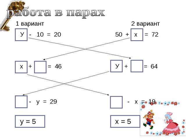 у = 5 У - 10 = 20 х + = 46 - у = 29 50 + х = 72 У + = 64 - х = 19 1 вариант 2...