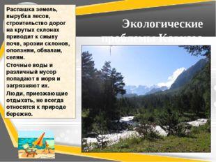 Экологические проблемы Кавказа Распашка земель, вырубка лесов, строительство