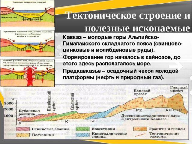 Тектоническое строение и полезные ископаемые Кавказ – молодые горы Альпийско-...