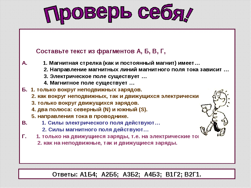 Составьте текст из фрагментов А, Б, В, Г, А. 1. Магнитная стрелка (как и пос...