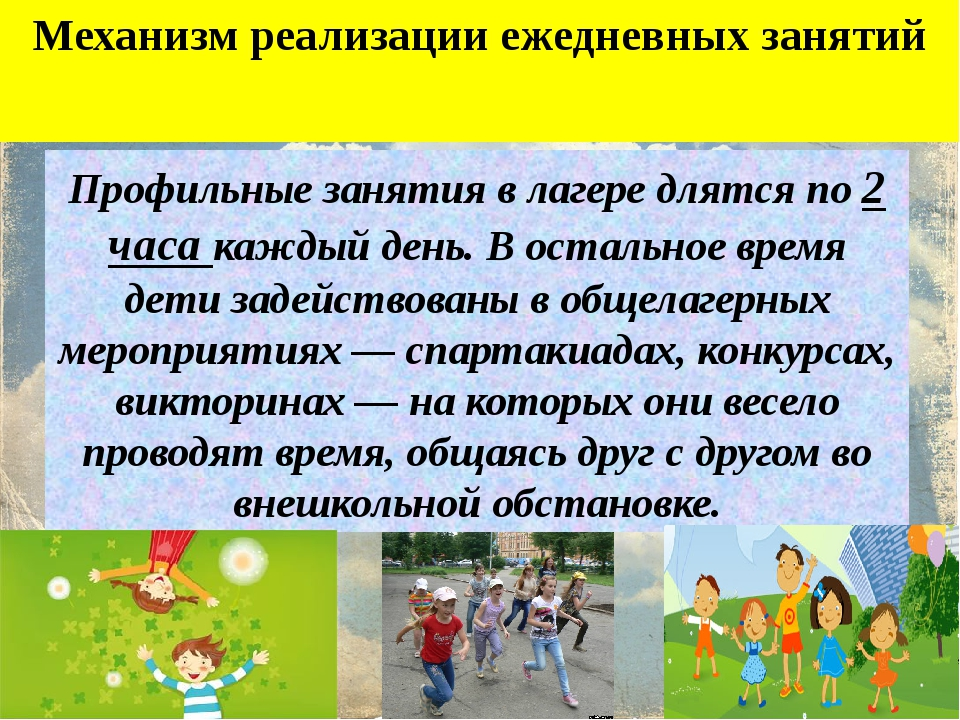 Механизм реализации ежедневных занятий Профильные занятия в лагере длятся по...