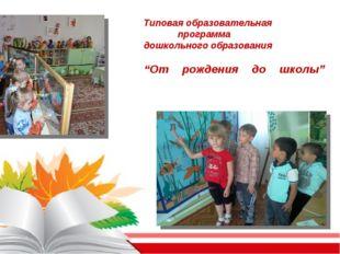 """Типовая образовательная программа дошкольного образования """"От рождения до шк"""