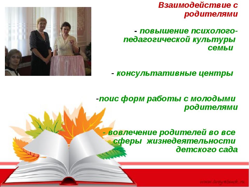 Взаимодействие с родителями - повышение психолого- педагогической культуры с...