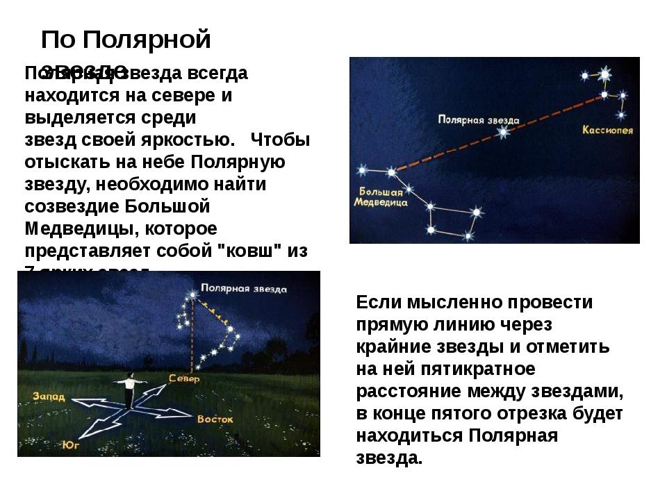 По Полярной звезде Полярная звезда всегда находится на севере и выделяется ср...