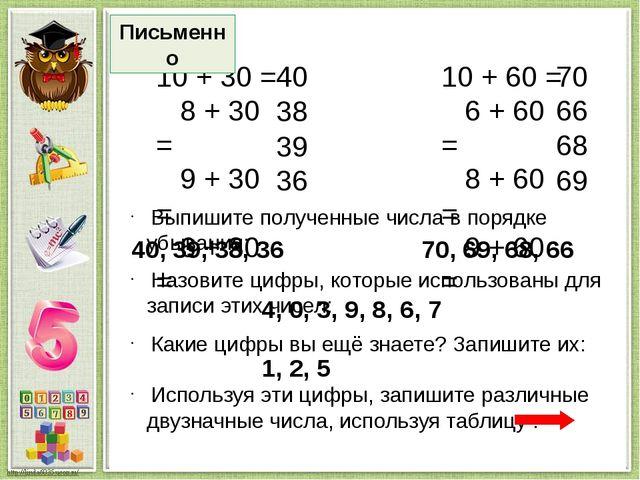 единицы десятки 1 2 5 1 2 5 11 12 15 21 22 25 51 52 55 Устно