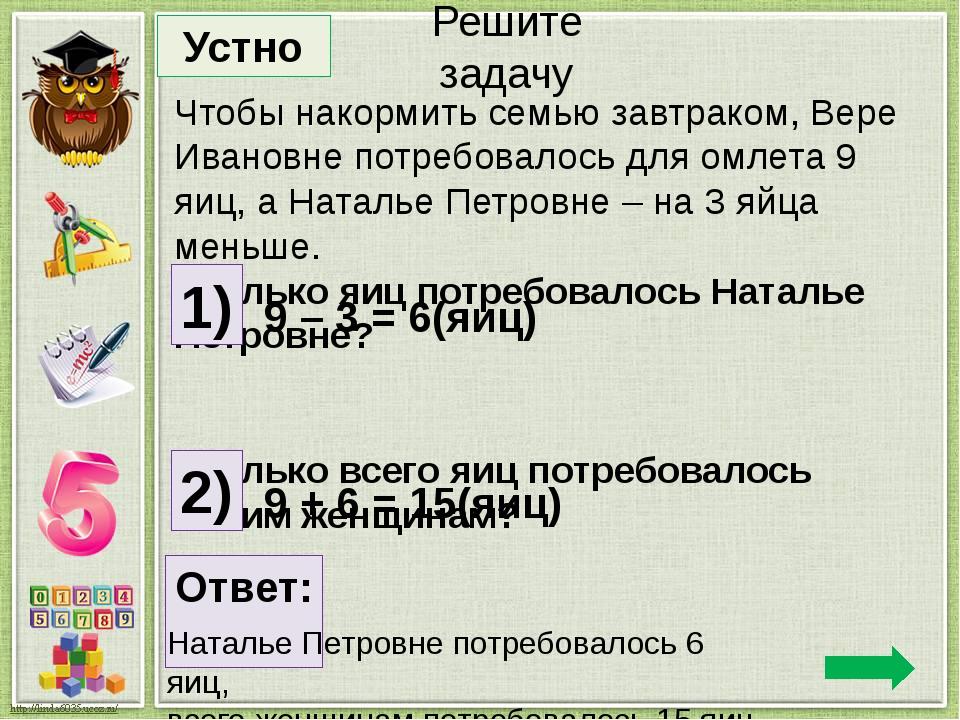 Чтобы накормить семью завтраком, Вере Ивановне потребовалось для омлета 9 яиц...