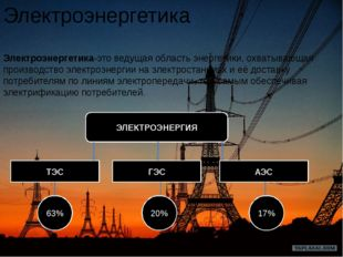 Электроэнергетика Электроэнергетика-этоведущая область энергетики, охватываю
