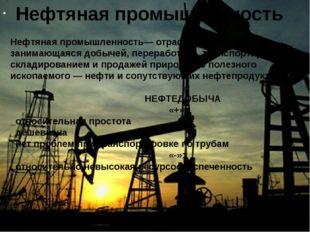 Нефтяная промышленность Нефтяная промышленность—отрасль экономики, занимающ
