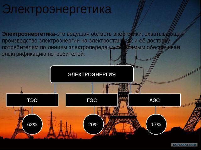 Электроэнергетика Электроэнергетика-этоведущая область энергетики, охватываю...