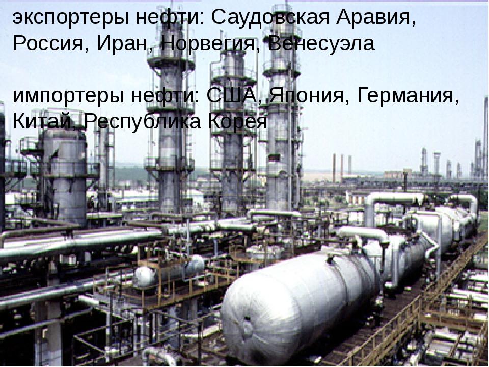 экспортеры нефти: Саудовская Аравия, Россия, Иран, Норвегия, Венесуэла импорт...