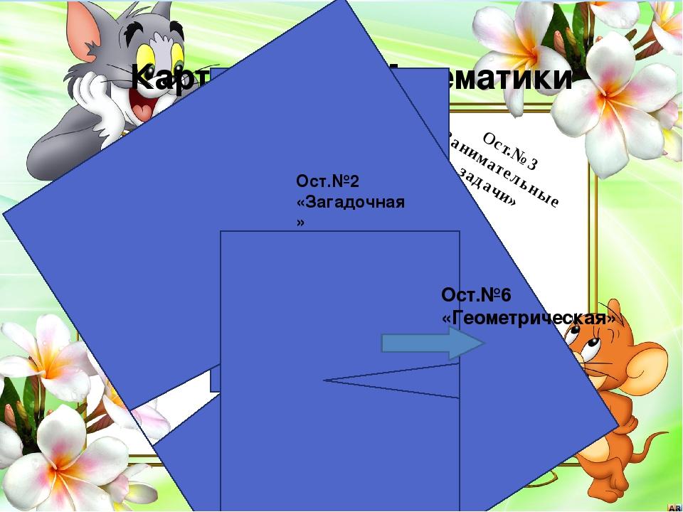 Карта страны Математики Ост.№1 «Весёлый счёт» Ост.№3 «Занимательные задачи»...