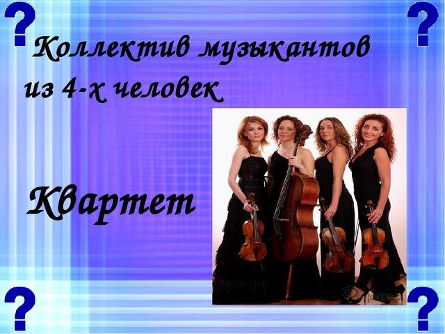 Коллектив музыкантов из 4-х человек Квартет