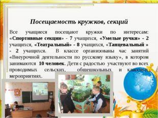 Посещаемость кружков, секций Все учащиеся посещают кружки по интересам: «Спо