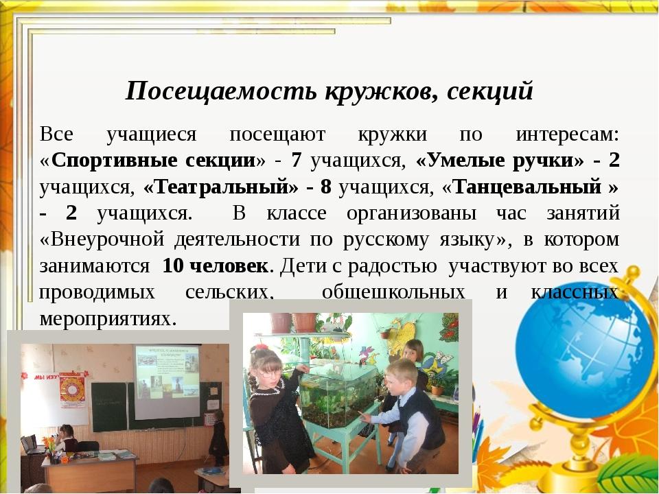 Посещаемость кружков, секций Все учащиеся посещают кружки по интересам: «Спо...