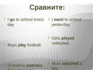 Сравните: I go to school every day Boys play football. Grandma watches TV