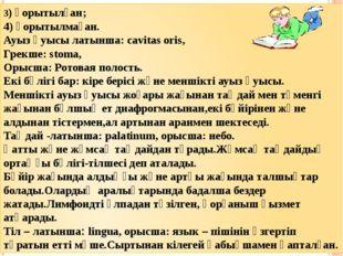 3) қорытылған; 4) қорытылмаған. Ауыз қуысы латынша: cavitas oris, Грекше: sto