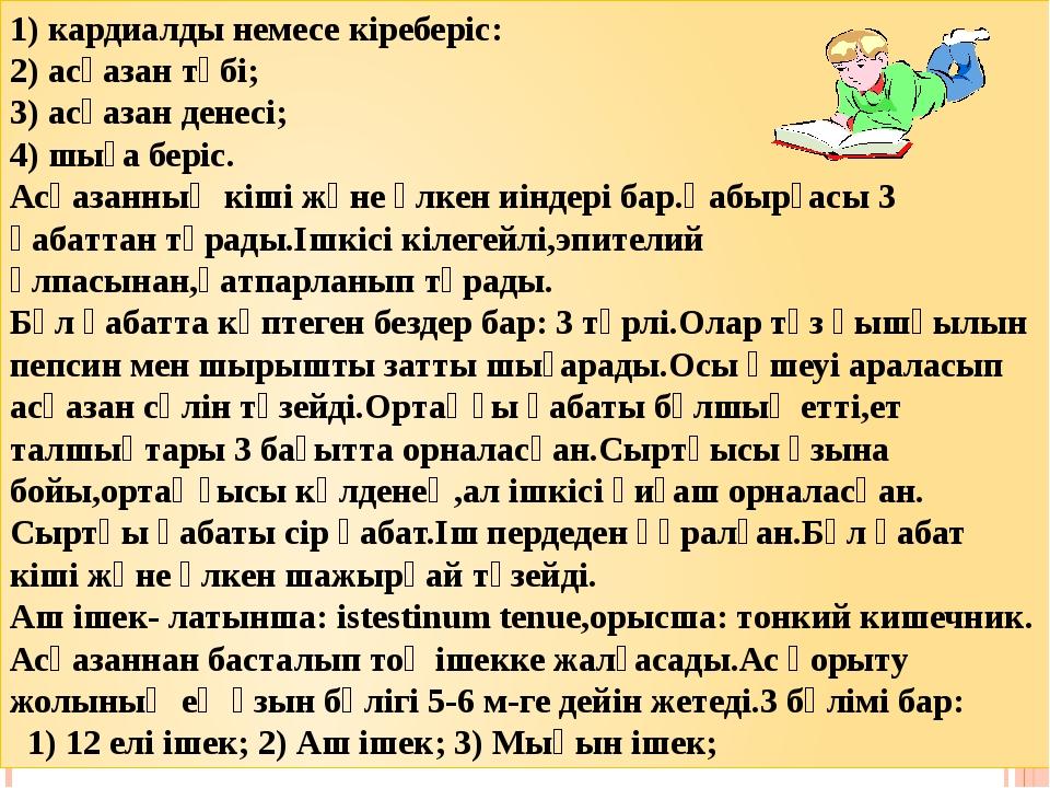 1) кардиалды немесе кіреберіс: 2) асқазан түбі; 3) асқазан денесі; 4) шыға бе...