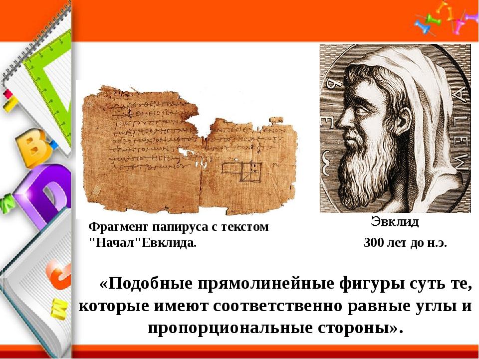 """Фрагмент папируса с текстом """"Начал""""Евклида. 300 лет до н.э. «Подобные прямоли..."""