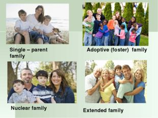 Nuclear family Adoptive (foster) family Single – parent family Extended family
