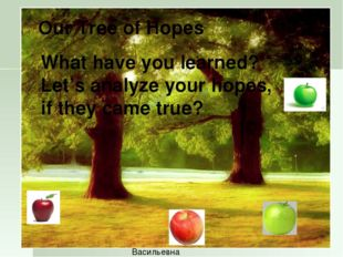 Let's build a Tree of Hopes Карпович Татьяна Васильевна Our Tree of Hopes Wha